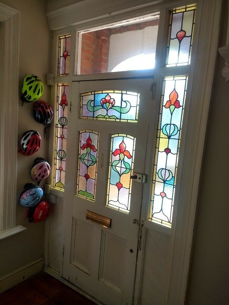 Antique Victorian Front Door Matching Side Panels With Beautiful