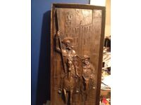 vintage high relief carving plaque,