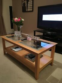 Glass coffee table with matching side table and mirrored unit