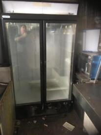 Upright double door glass fronted frdge