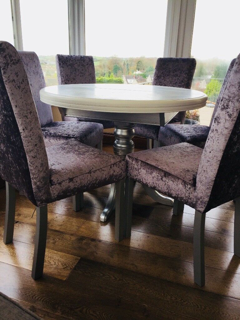 Beautiful Grey Crushed Velvet Newly Upholstered Quality Dining Occasional Chairs Set Of 6
