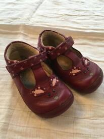 Clarks girls 5f - purple bunny t-bar shoes