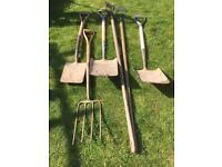 3 Spades, Fork and 2 Hoes. Bulk Garden Tools