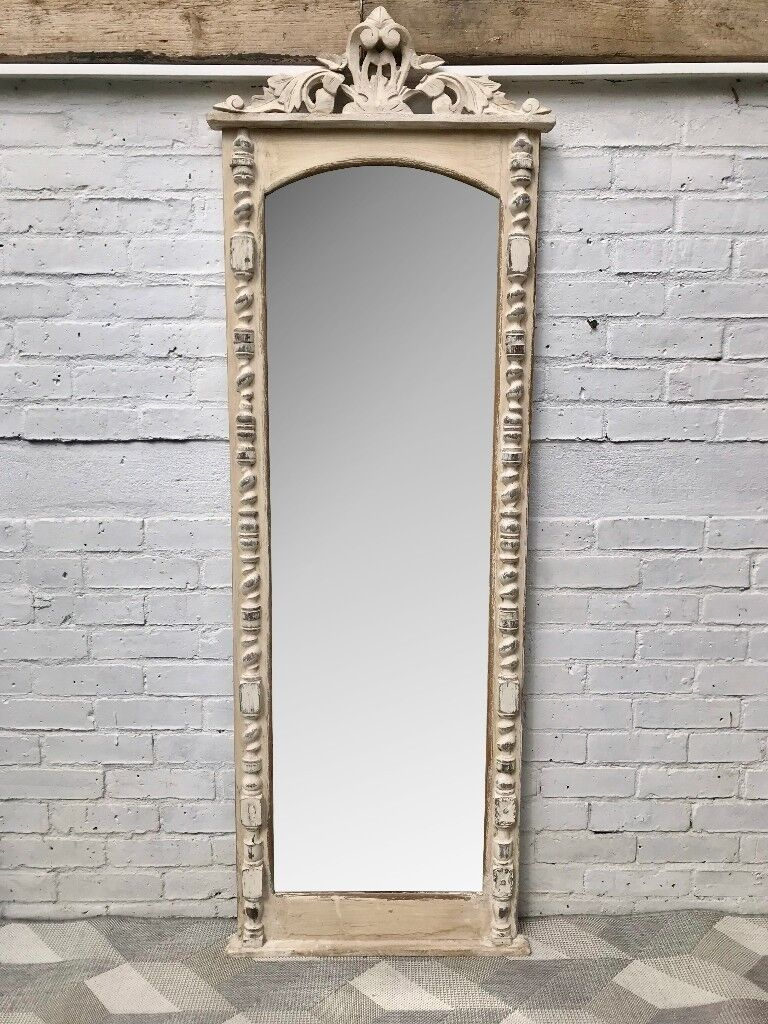 Vintage Full Length Mirror White Wood Frame French #650 | in ...