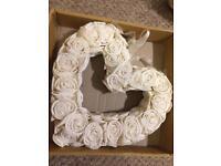 Cream handmade heart wreath, roses & 2 X Garland engagement Christmas wedding home decorations
