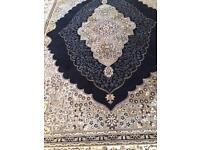 Persian silk rug black