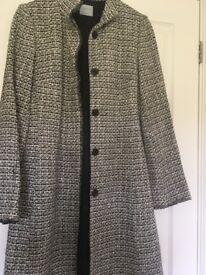 Oasis black and white coat size 8
