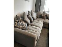 Furniture Village Dune Corner Pillow Back Sofa & Footstall (Right hand facing)