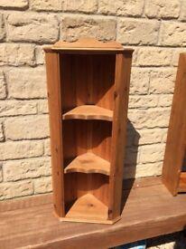 Solid antique pine corner shelf unit