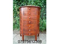 (483) HALF ROUND SEMI-CIRCLE CHEST OF DRAWERS; HANDMADE IN INDIA