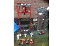 Garage equipment snap on bottle press air tools welding bottles