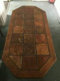 Solid oak tile top coffee table