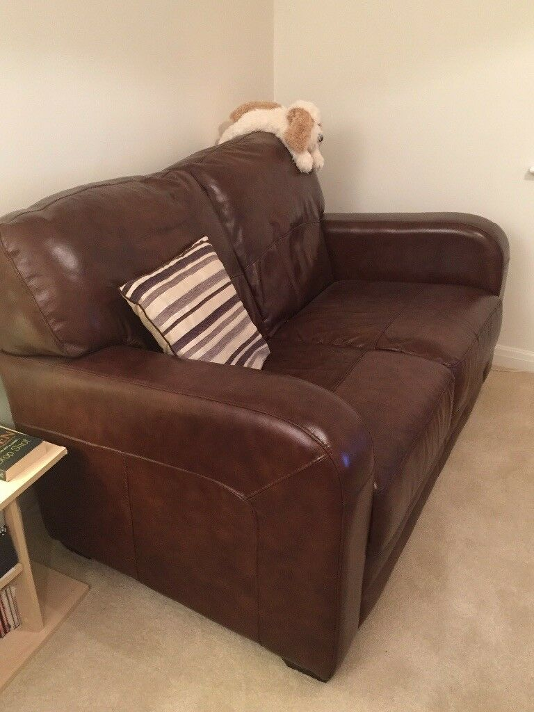 2 x leather 2-seater sofas