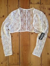 Lace wedding jacket Brand New with labels (size 14)