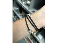 Black leather triple pandora bracelet