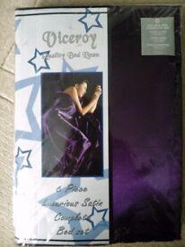 Luxury purple satin duvet set (double)