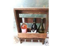 Rustic Handmade Wine Rack (3 Bottles)
