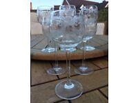 Vintage Etched Long Stemmed Wine / Port Glasses - Set of 6 - Excellent Condition
