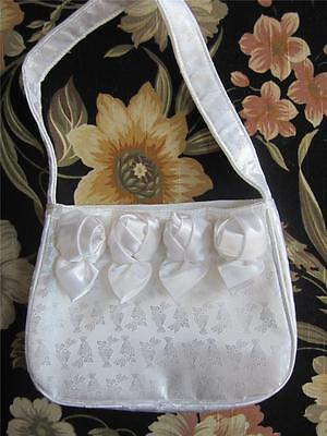 White Satin Brocade Rosette First Communion Purse Chalice Embossed NEW #206