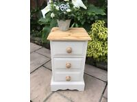 Solid Pine Painted Bedside Table / Chest