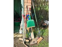 Selection of garden tools/brooms/buckets/watering can