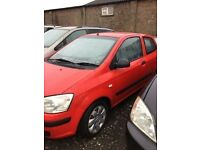 2003 Hyundai GETZ 1000 cc engine low mile one owner from new long mot lovely driver in red px we
