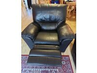 Leather settee and Armchair.
