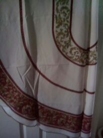 Tablecloth oval white with red gold design excellent condition