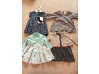4 BRAND NEW BABY GIRL DRESSES AND CARDIGANS - ALL WITH TAGS STILL ON