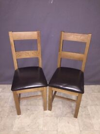 2x Solid Oak Dark Wood Tone & Brown Leather Chairs Dining Room
