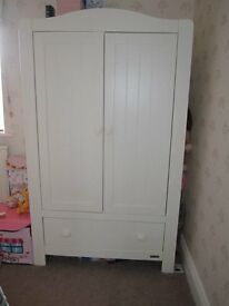 Mamas and Papas white wardrobe with 2 drawers and John lewis white sleigh bed