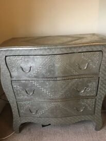 Silver Metal Plated Detailed Chest Of Drawers Originally £399 now £250