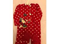 12-18 months. Fleece all in one Christmas mini mouse