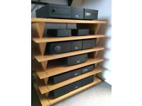 Isoblue- Six shelf hi-fi support system/ Oak