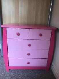 Pink chest of draws