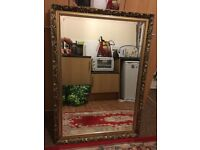 Large gold design frame mirror for sale good condition