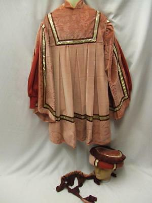 Medieval Male Henry 8th Tunic and Hat Pink and gold  NEW hire costume 42