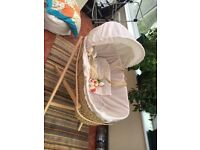 Bassinet and stand with Mamas and Papas mobile