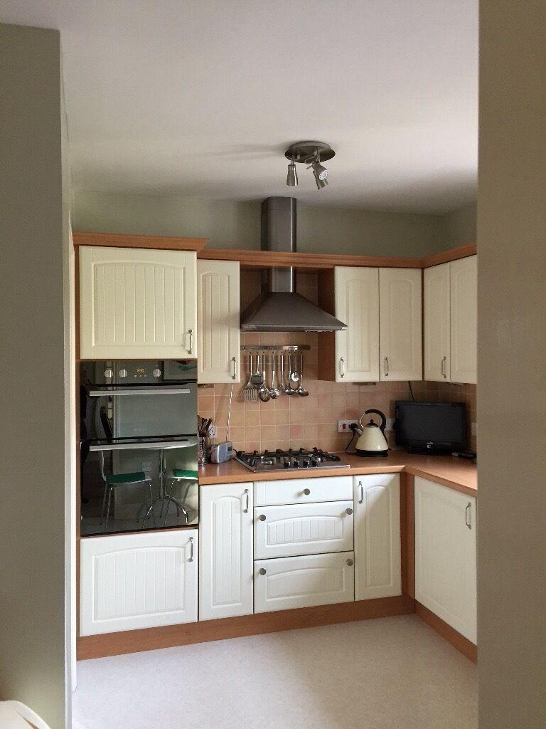kitchen units. 7 Floor units, 9 wall units inc. tall fridge-freezer ...
