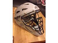 Rawlings grey hockey style coolflo catchers helmet