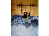 weight bench and 121kg weights