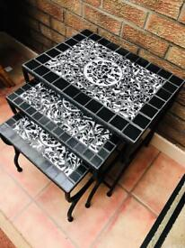 Wrought iron nest of 3 tables