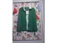 ORLA KIELY GREEN BLOUSE LONG SLEEVED - size 8