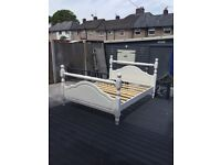 Solid wood king size bed. In white