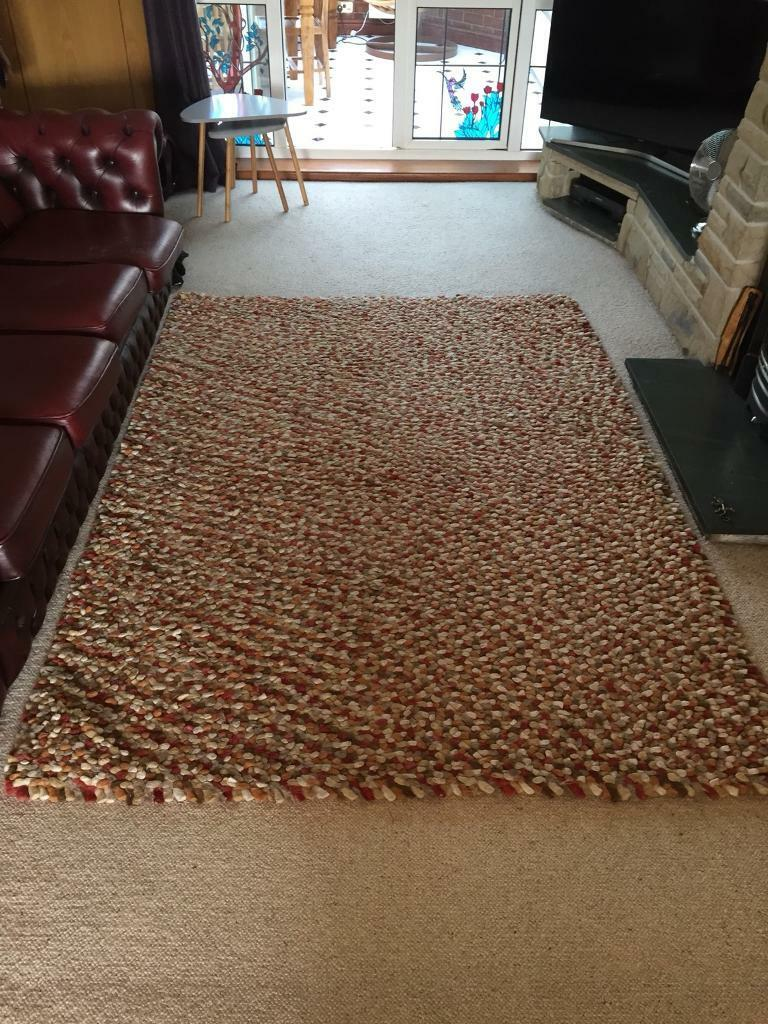Autumnal Wool Large Loop Berber Rug Orange Red Green Bobble Design Contemporary Modern 150x230cm