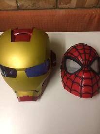 Iron man and Spider-Man play masks
