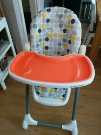 High chair adjustable height and recline