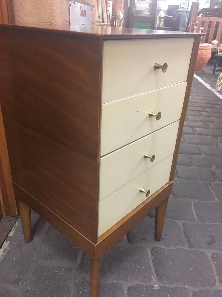 Vintage Retro Mid Century Quirky Painted Wooden 4 Drawer Bedside Sofa Side Table Cabinet Cupboard In Cardiff Gumtree