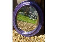 Purple fine glittered oval mirror
