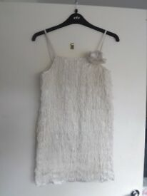 Monsoon age 11-12 short dress/long top with flapper type tassel detail, cream unworn